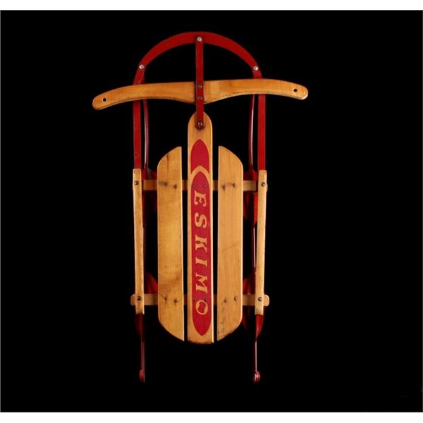 Wooden Eskimo Sled with Red Bottom