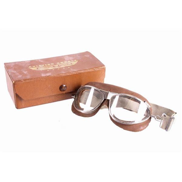 American Optical Aviator Goggles & Case 1930's