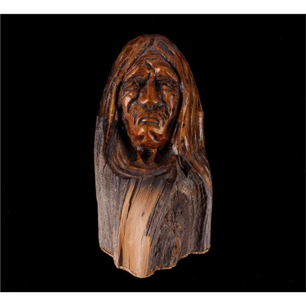 L.A. Brown Drift Wood Wise Woman Carving c. '89