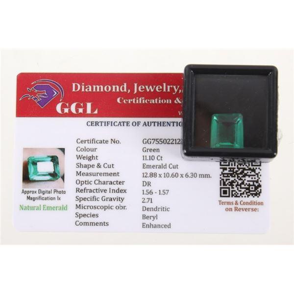 11.10 Ct Cut Loose Emerald Gemstone & Certificate