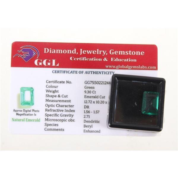9.30 Ct Cut Loose Emerald Gemstone & Certificate