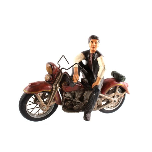 1950's Retro Motorcycle & Rider Plaster Decoration