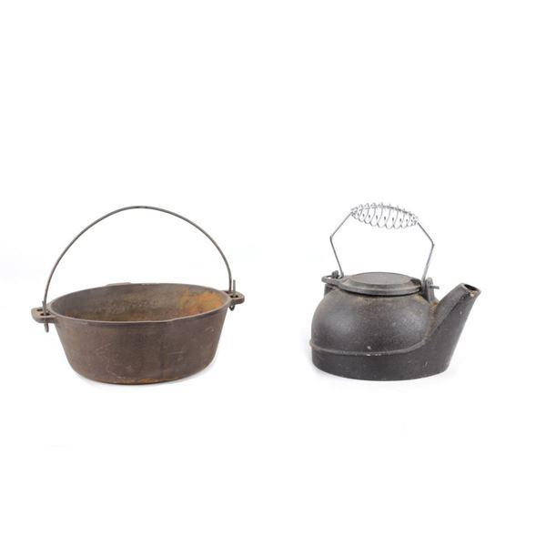 1890s Large Cast Iron Water Kettle & Cast Iron Pot