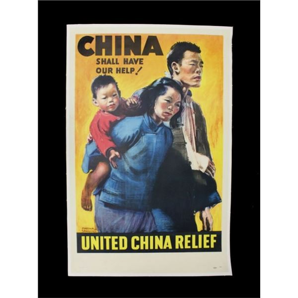 United China Relief Linen Back Poster