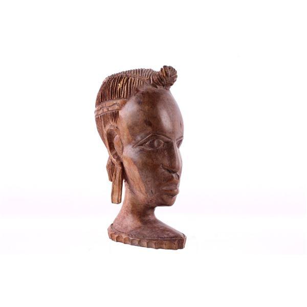 Hand Carved African Walnut Folk Art Bust