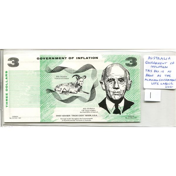 "Australia. $3 ""Government of Inflation. This Bill is as Phony as the McMahon Government. Vote Labour"