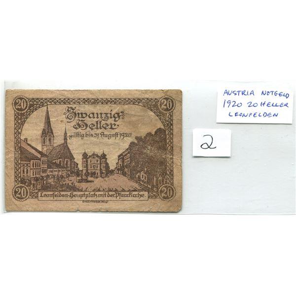 Austria. 1920 10 Heller Notgeld (Necessity Money). Issued in Leonfelden.