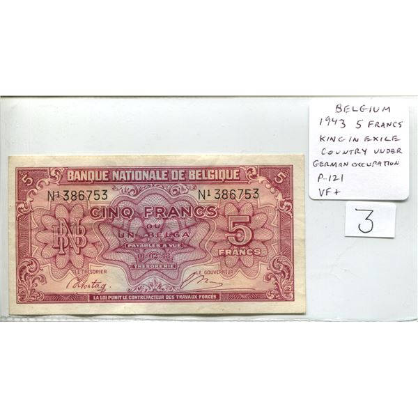 Belgium. 1943 5 Francs. Issued by the King in Exile while Belgium under German Occupation. P-121. VF