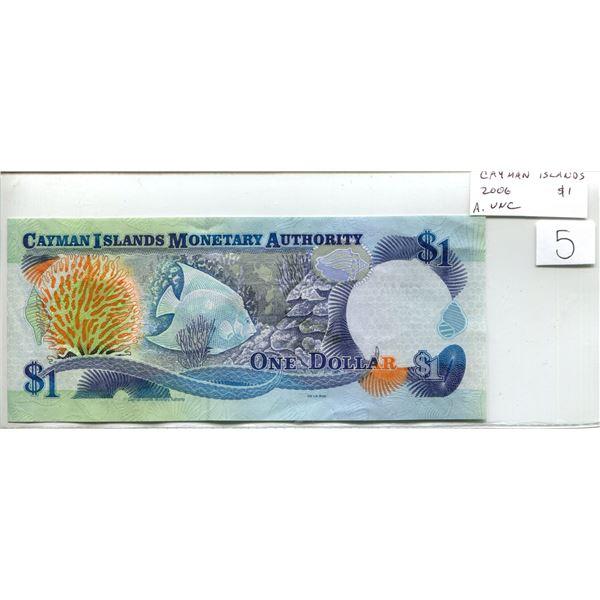 Cayman Islands. 2006 $1. Fish & coral scene. AU.