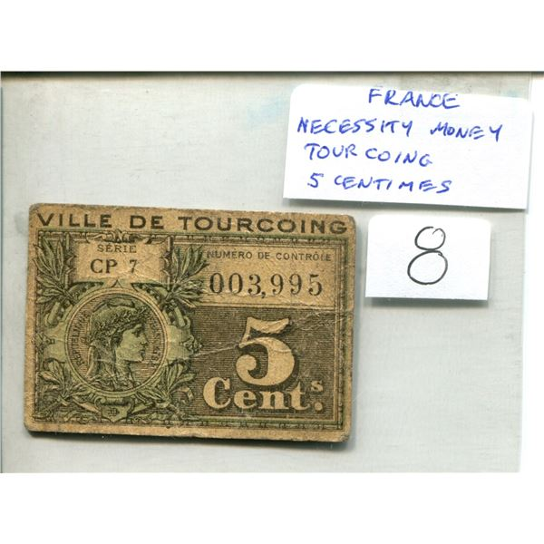 France. Necessity Money from Tourcoing. 5 Centimes. F.