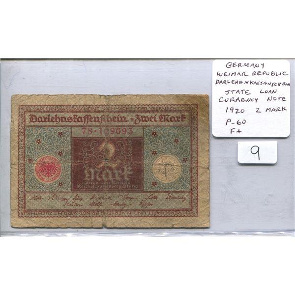 Germany. Weimar Republic. 1920 2 Mark Darlehenkassenschein (State Loan Currency Note). P-60. F+.