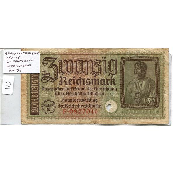 Germany. Third Reich. 1940-1945 20 Reichsmark. Swastika. R-139. F.