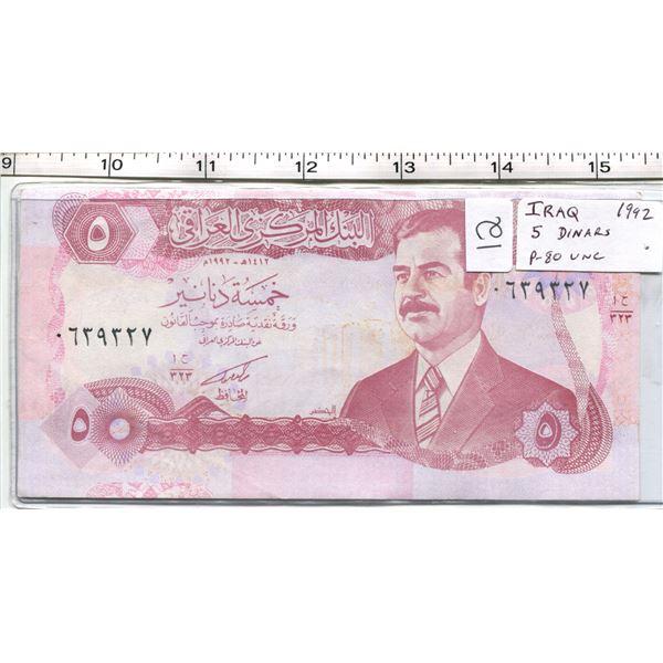 Iraq. 1992 5 Dinars. Saddam Hussein. P-80. Unc.