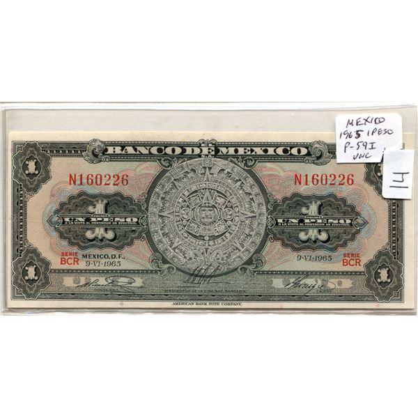 Mexico. 1965 1 Peso. Mayan calendar. P-59i. Unc.