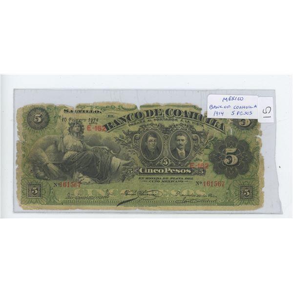 Mexico. Bank of Coahuila 1914 5 Pesos. G.