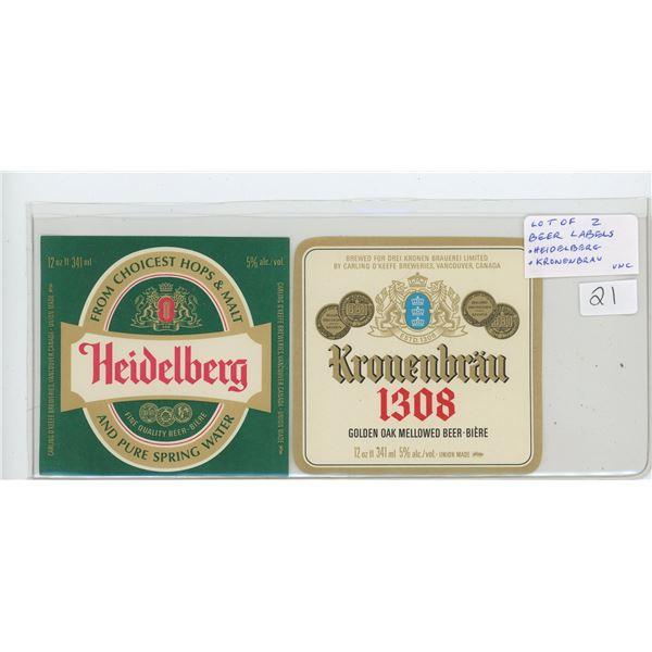 Lot of 2 Beer Labels: Heidelberg and Kronenbrau. Both Unc.