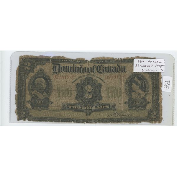 1914 Dominion of Canada $2 note. No Seal. Will Pay Curved.  Series F with hyphen. Boville signature.