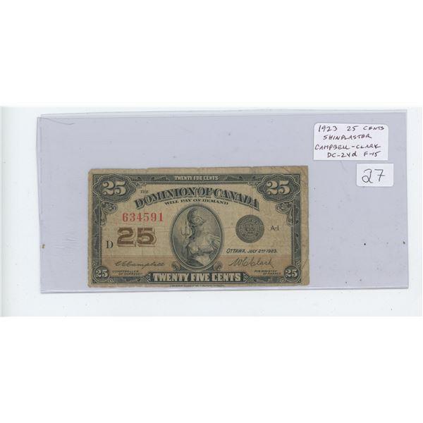 1923 25 Cents Shinplaster. Campbell-Clark signatures. No Authorized. DC-24d. The last 1923 Shinplast