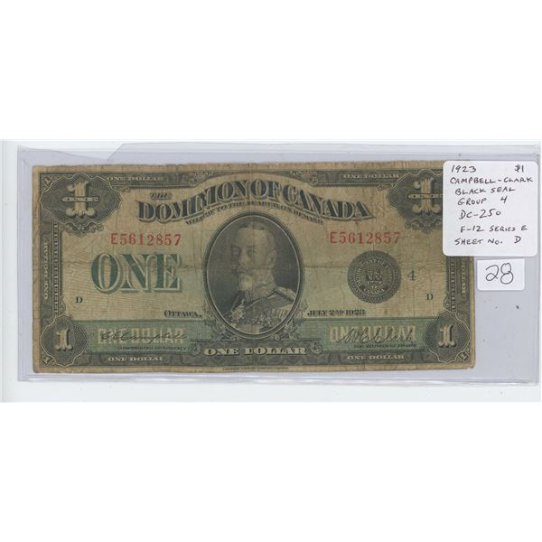 1923 Dominion of Canada $1. Campbell-Clark signatures. Black Seal. Group 4. Series E. Sheet Number D