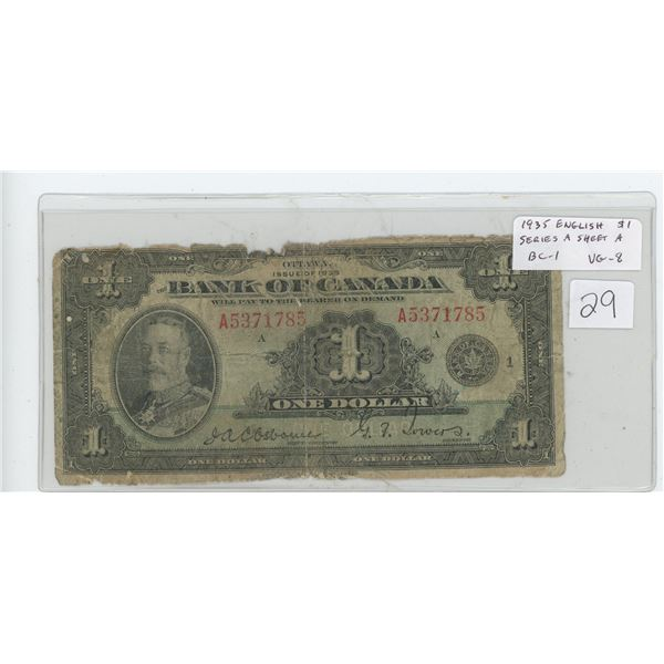 1935 Bank of Canada $1. George V. English. Osborne-Towers signatures. Series A. Sheet Number A. BC-1
