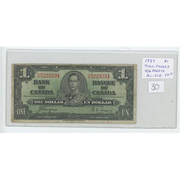 1937 Bank of Canada $1. George VI. Coyne-Towers signatures. N/N Prefix. BC-21d. VG-8.