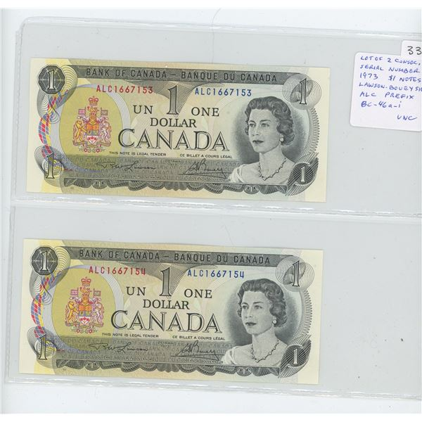 Lot of 2 Consecutive Serial Number 1973 $1 notes. Lawson-Bouey signatures. ALC Prefix. Serial Number
