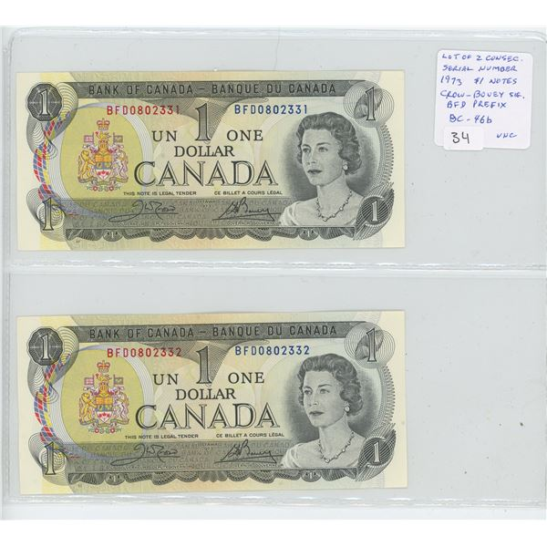 Lot of 2 Consecutive Serial Number 1973 $1 notes. Crow-Bouey signatures. BFD Prefix. Serial Numbers