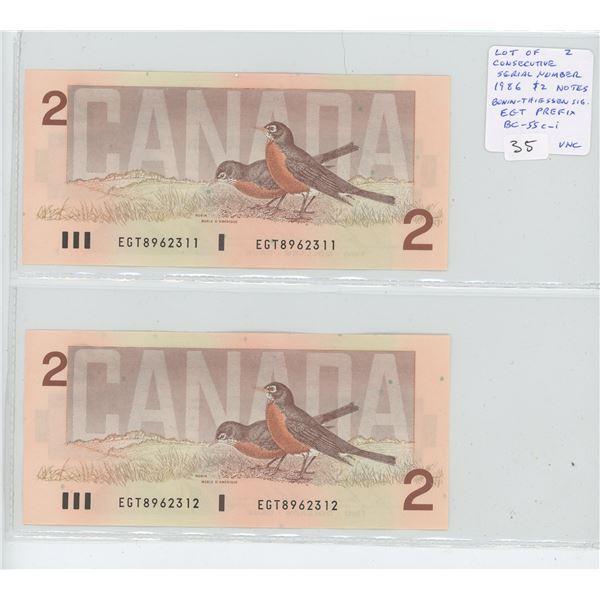 Lot of 2 Consecutive Serial Number 1986 $2 notes. Bonin-Thiessen signatures. EGT Prefix. Serial Numb
