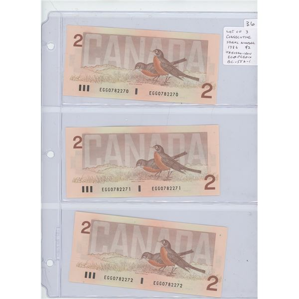 Lot of 3 Consecutive Serial Number 1986 $2 notes. Thiessen-Crow signatures. EGG Prefix. Serial Numbe