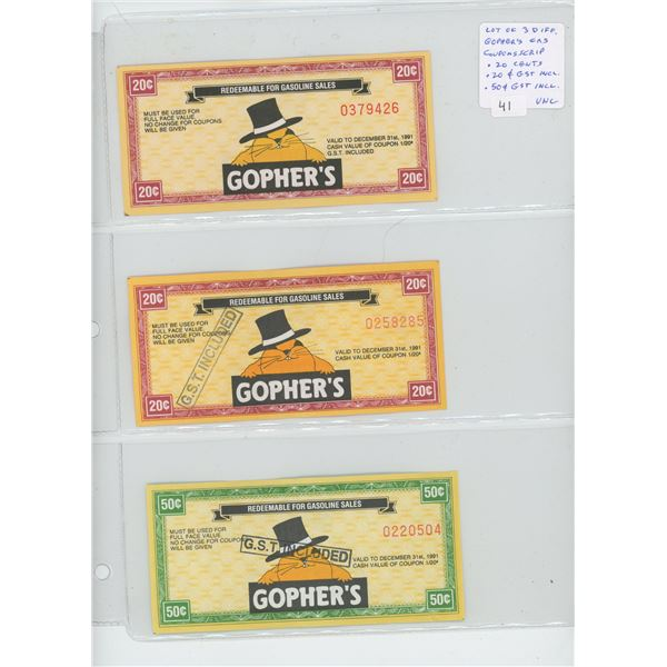 "Lot of 3 Gopher's Gas Coupons Scrip. 20 cents, 20 cents with ""GST INCLUDED"" stamped on the note, and"