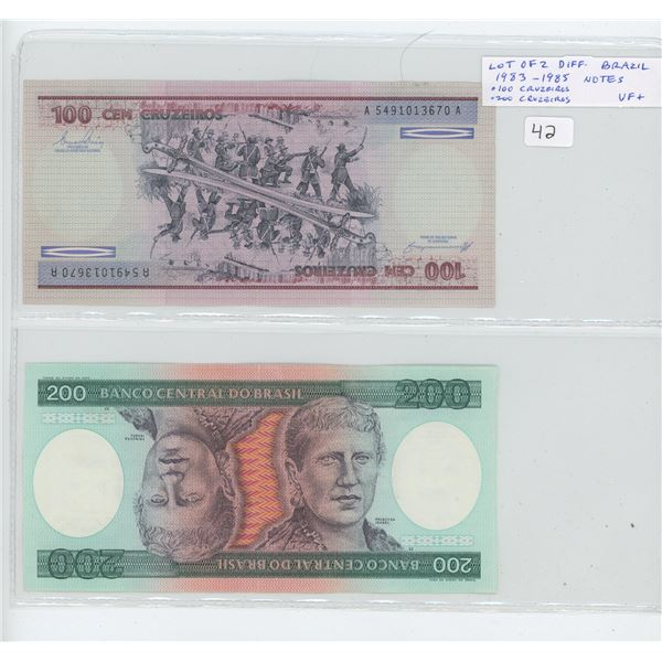 Lot of 2 Brazil bank notes. Both notes from the 1983-1985 series including 100 cruzeiros & 200 cruze