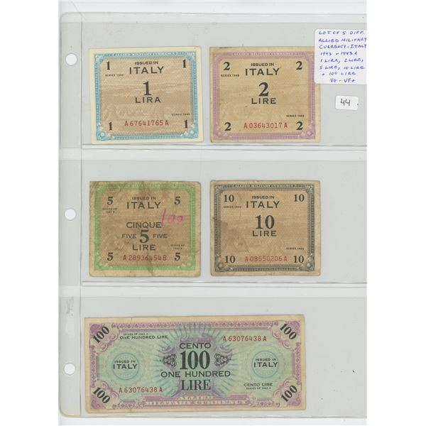 Lot of 5 different Allied Military Currency notes issued for use in Italy. Dated 1943 & 1943A series