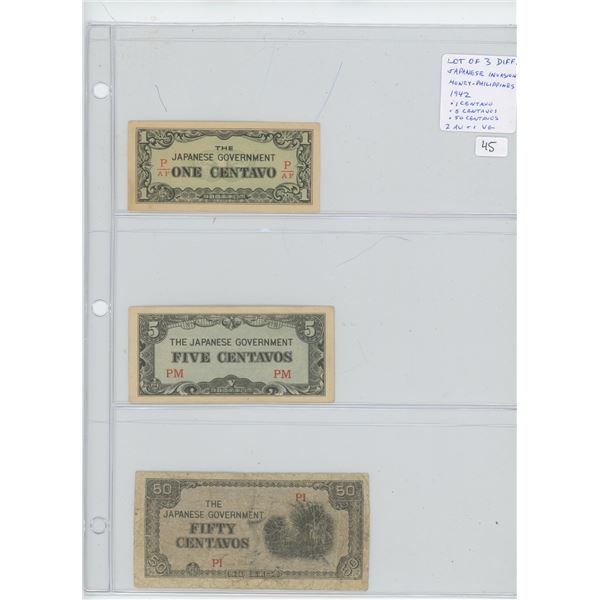 Lot of 3 Japanese Invasion Money for the Philippines. Issued by the Japanese military during their i