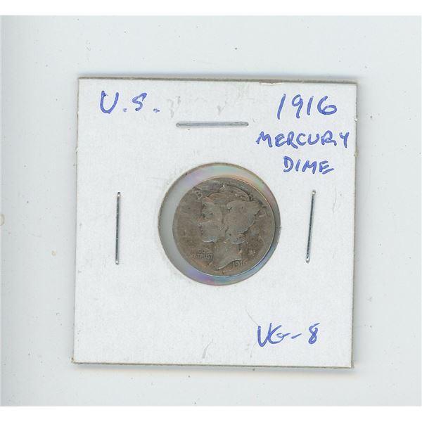 U.S. 1916 Mercury Dime VG-8. The first Mercury Dime.