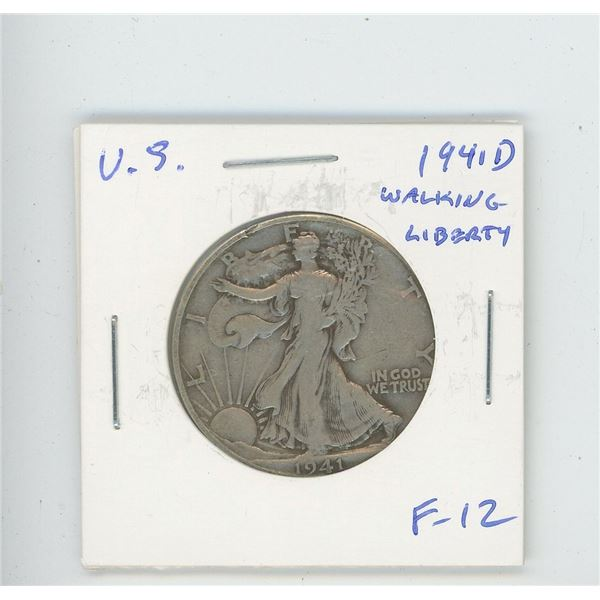 U.S. 1941D Walking Liberty Half Dollar. F-12. Issued before the U.S. joined World War II.