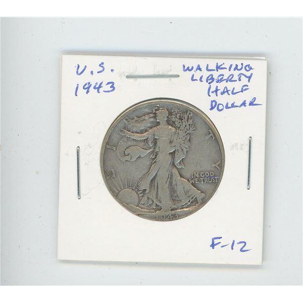 U.S. 1943 Walking Liberty Half Dollar. F-12. Issued after the U.S. joined World War II.