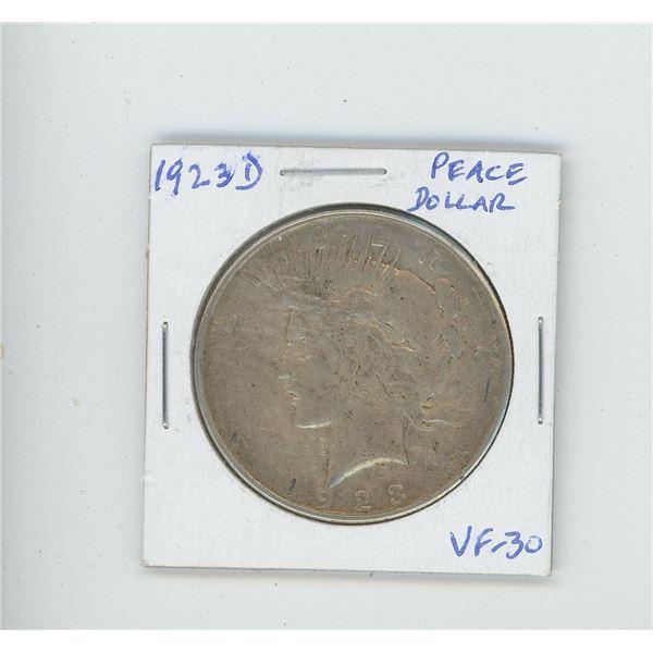 U.S. 1923D Peace Dollar. Denver Mint. VF-30.