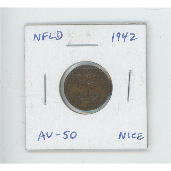 Newfoundland 1942 small cent. World War II issue. AU-50. Nice.