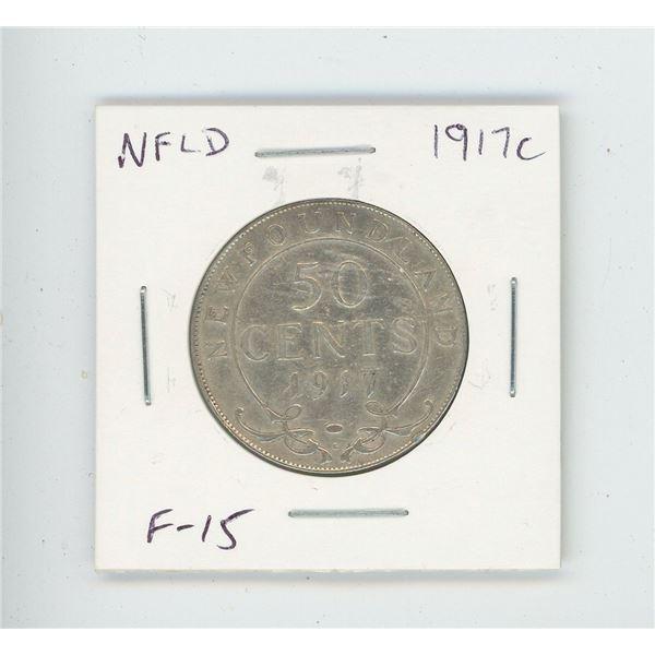 Newfoundland 1917c Silver 50 Cents. World War I issue. Minted in Ottawa. F-15. Nice.