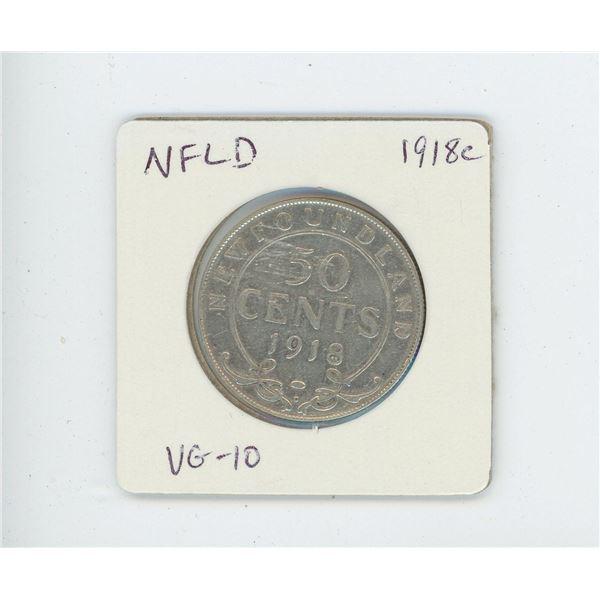 Newfoundland 1918c Silver 50 Cents. World War I issue. Minted in Ottawa. VG-10.