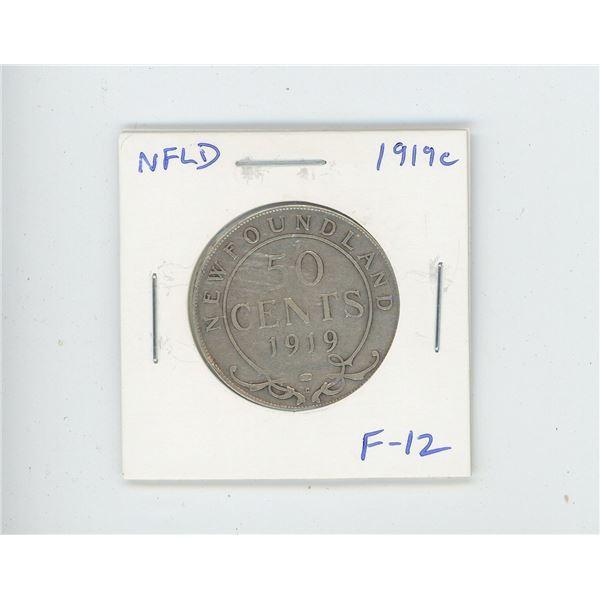 Newfoundland 1919c Silver 50 Cents. Minted in Ottawa. F-12.