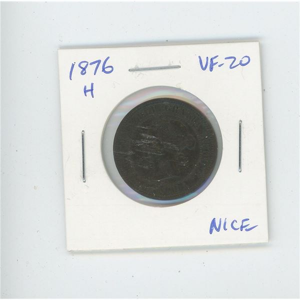 1876H Victorian Large Cent. Heaton Mint. VF-20. Nice.