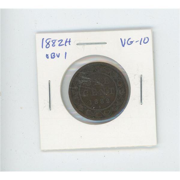 1882H Obverse 1 Victorian Large Cent. Heaton Mint. VG-10.