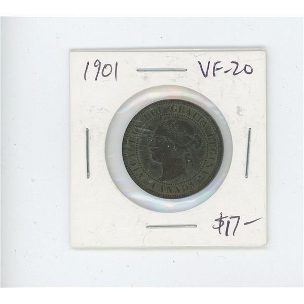 1901 Victorian Large Cent. The last year of issue of Queen Victoria. VF-20. Nice.