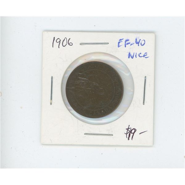 1906 Edward VII Large Cent. EF-40. Nice.