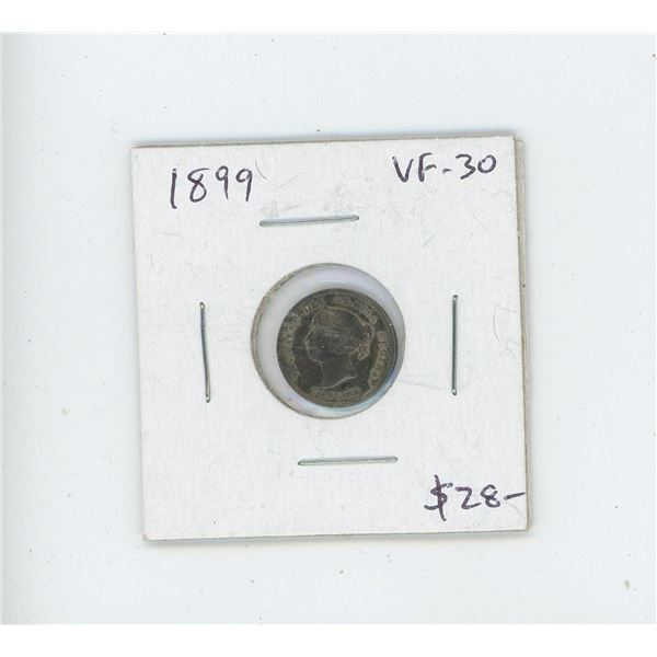 1899 Silver 5 Cents. VF-30. Nice.