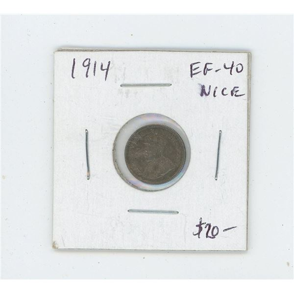 1914 Silver 5 Cents. World War I issue. EF-40. Nice.