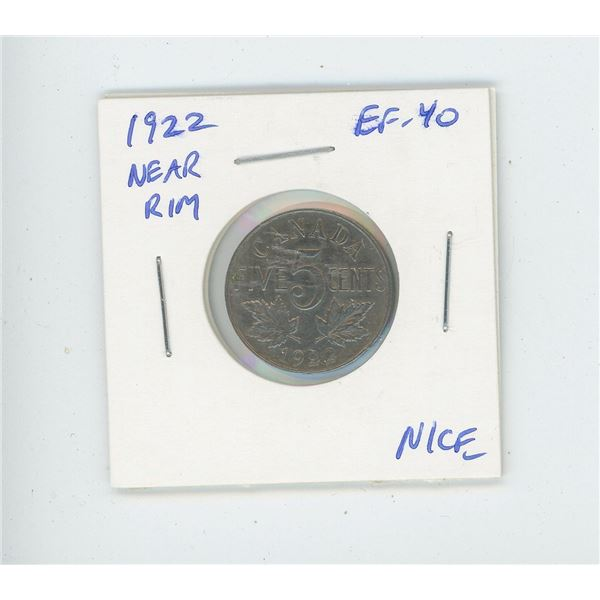 1922 Near Rim Nickel 5 Cents. S is near Rim. The first year of the nickel. EF-40. Nice.