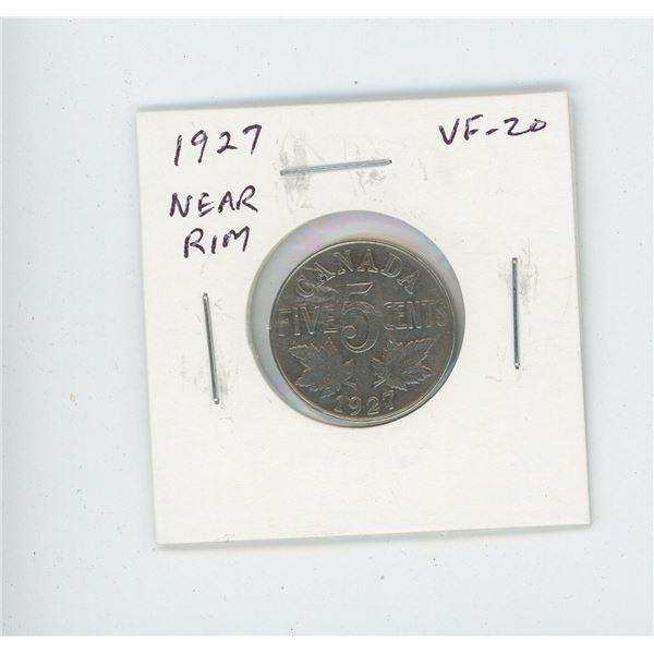1927 Near Rim Nickel 5 Cents. S is near Rim. VF-20. Nice.