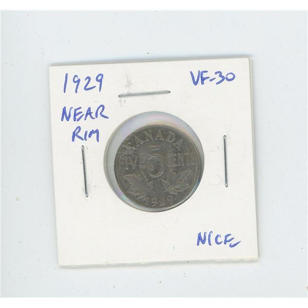 1929 Near Rim Nickel 5 Cents. S is near Rim. VF-30. Nice.